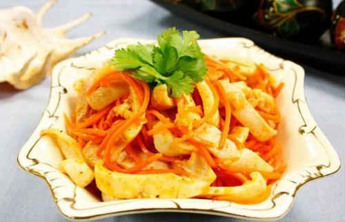 салат из моркови и кальмаров по корейски