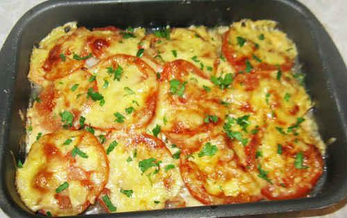 красная рыба с картошкой