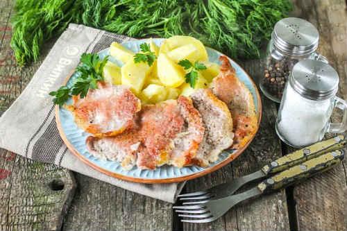 отбивная из свинины с картошкой
