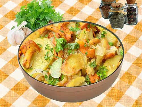 лисички с картошкой