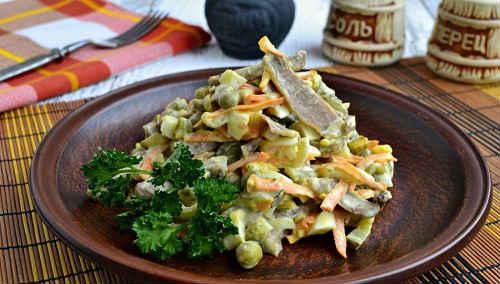 как приготовить салат из свиного языка