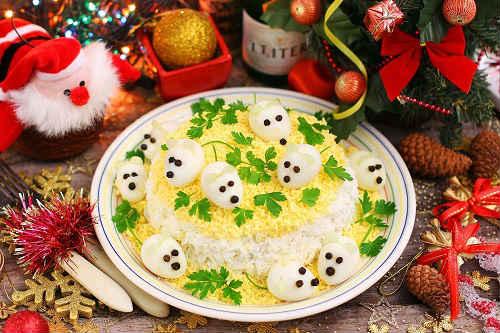 новогодний салат 2020 Мышки в сыре