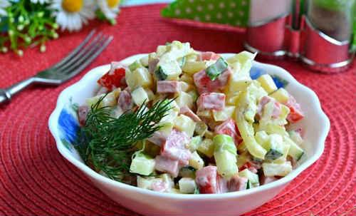 рецепты салатов с колбасой