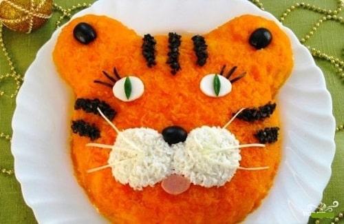 салат на новый год тигренок