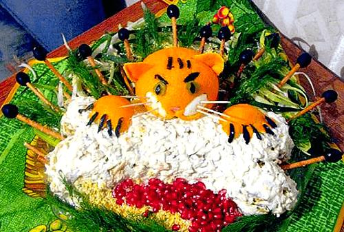 салат тигренок на новый год