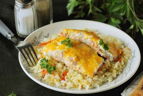 горбуша с рисом в духовке