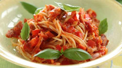 спагетти с мясом в томатном соусе
