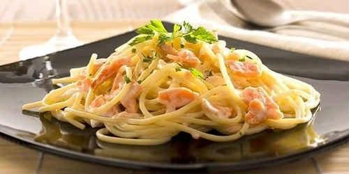 паста альфредо с креветками