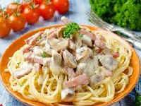 рецепт спагетти с грибами в сливочном соусе