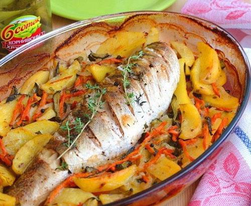 судак в духовке с картошкой
