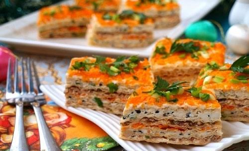 закусочный торт из селедки