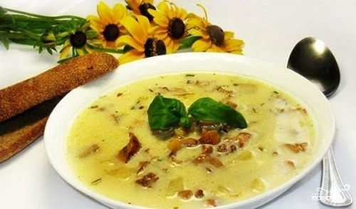 суп из лисичек со сливками