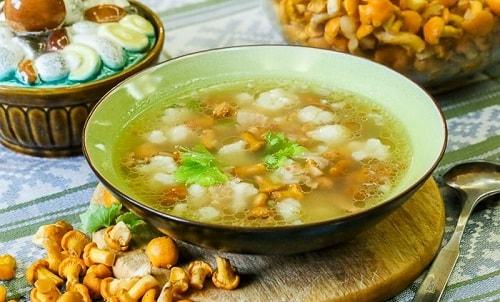 вкусный суп из лисичек