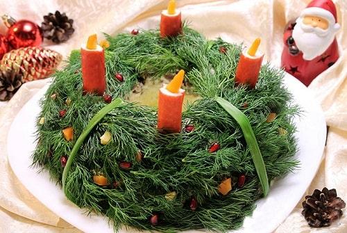 как приготовить салат новогодний венок рецепты