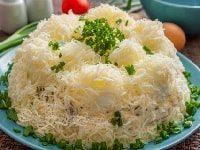 как приготовить салат сугробы с курицей