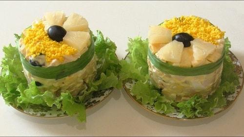 салат дамский каприз с ананасом