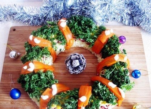 салат новогодний венок с говядиной