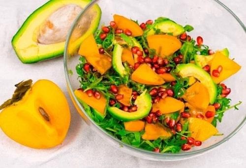 салат с хурмой рецепт с рукколой