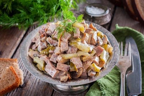 самый вкусный салат с говяжьим языком