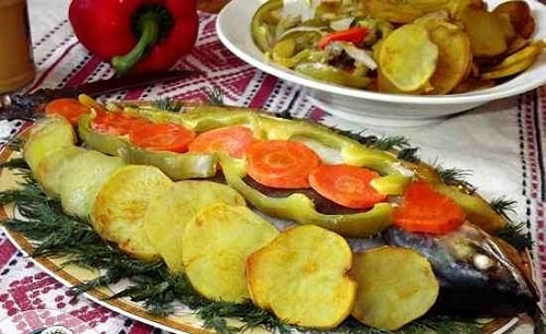 как приготовить рыба с картошкой в духовке