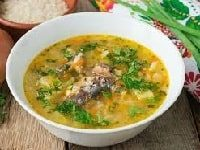 рыбный суп из консервов сайры с рисом