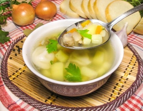 суп с вешенками и курицей