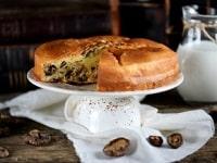 Заливной пирог с грибами в духовке - постный рецепт на кефире