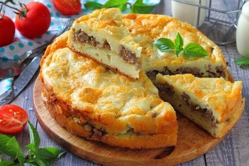 Заливной пирог с мясом в духовке – рецепт