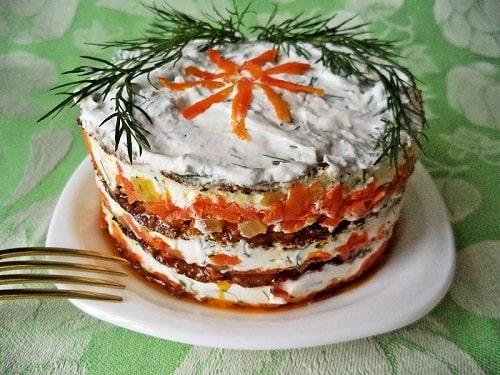 печёночный торт из говяжьей печени
