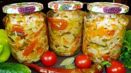 салат с помидорами и капустой на зиму