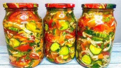вкусный генеральский салат из овощей на зим